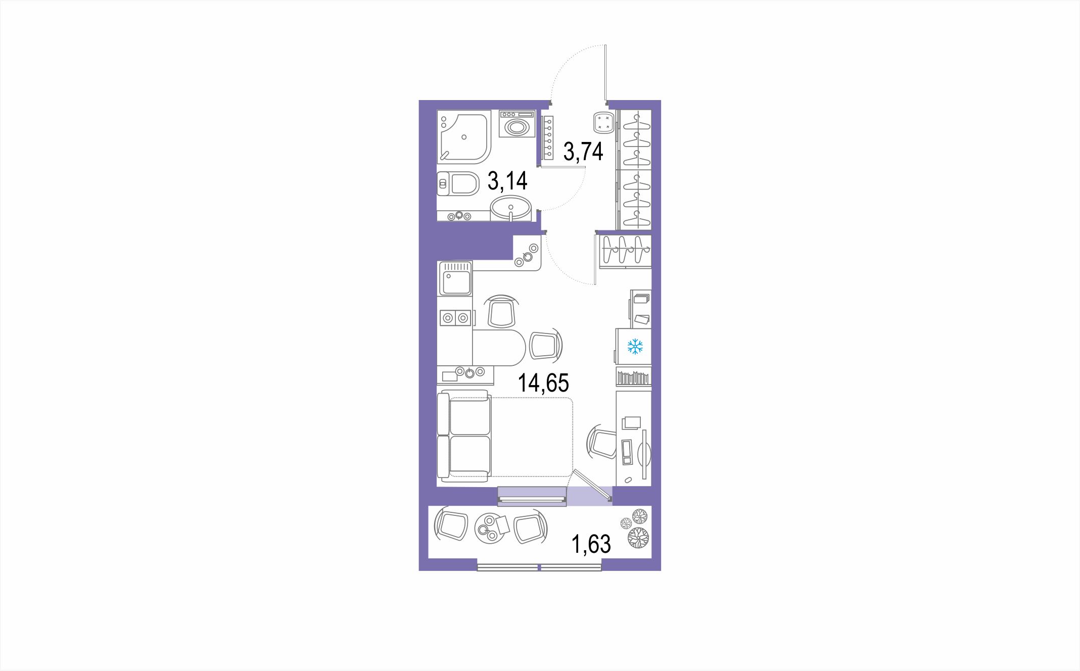 Планировка Студия площадью 23.16 кв.м в ЖК ««Европейский парк»»