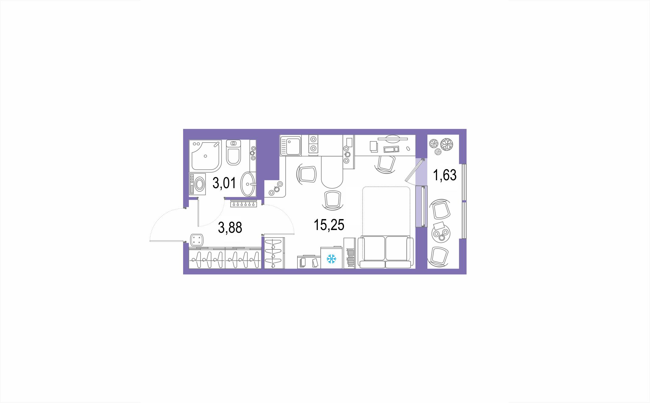 Планировка Студия площадью 23.77 кв.м в ЖК ««Европейский парк»»