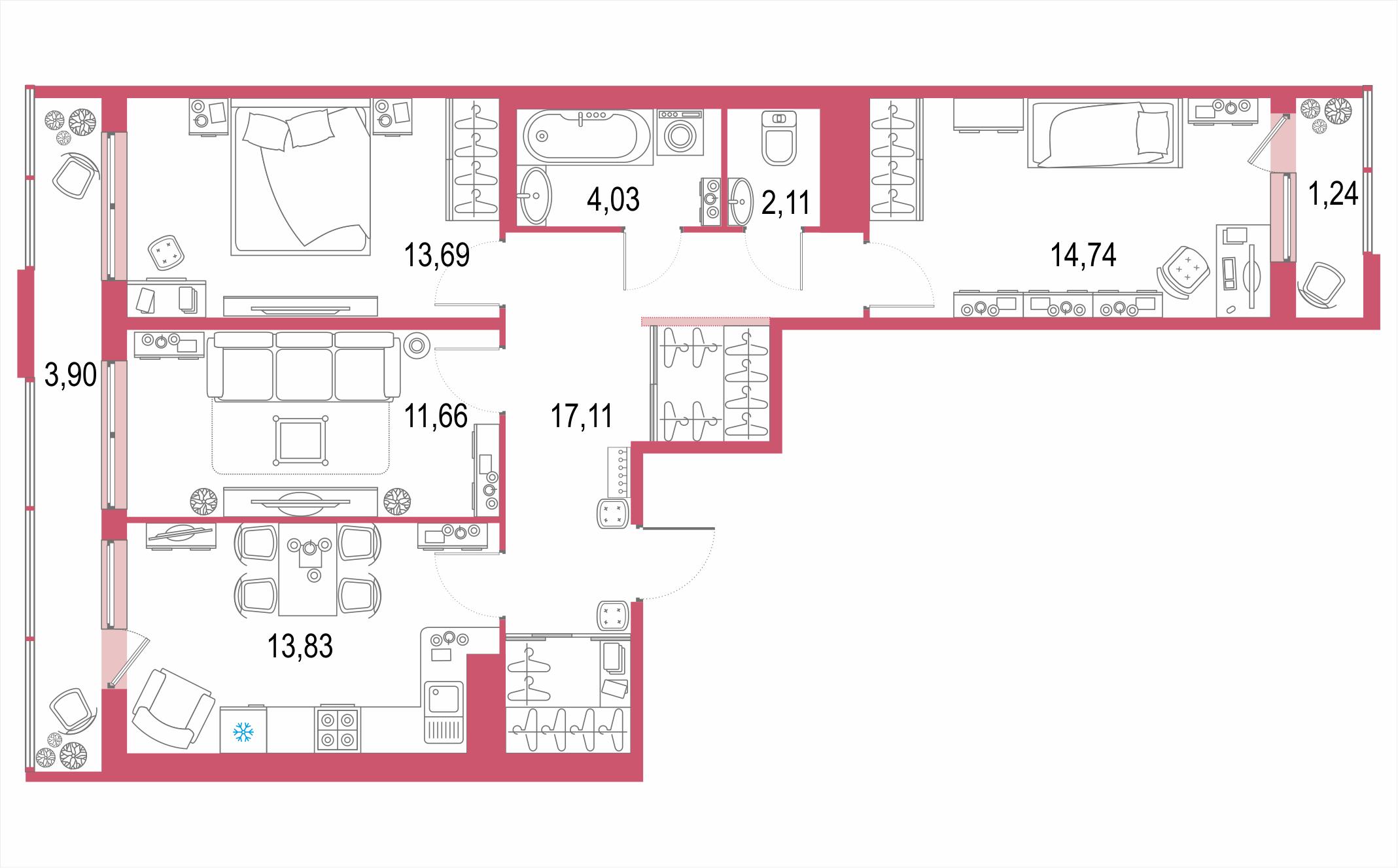 Планировка Трёхкомнатная квартира площадью 82.31 кв.м в ЖК ««Европейский парк»»
