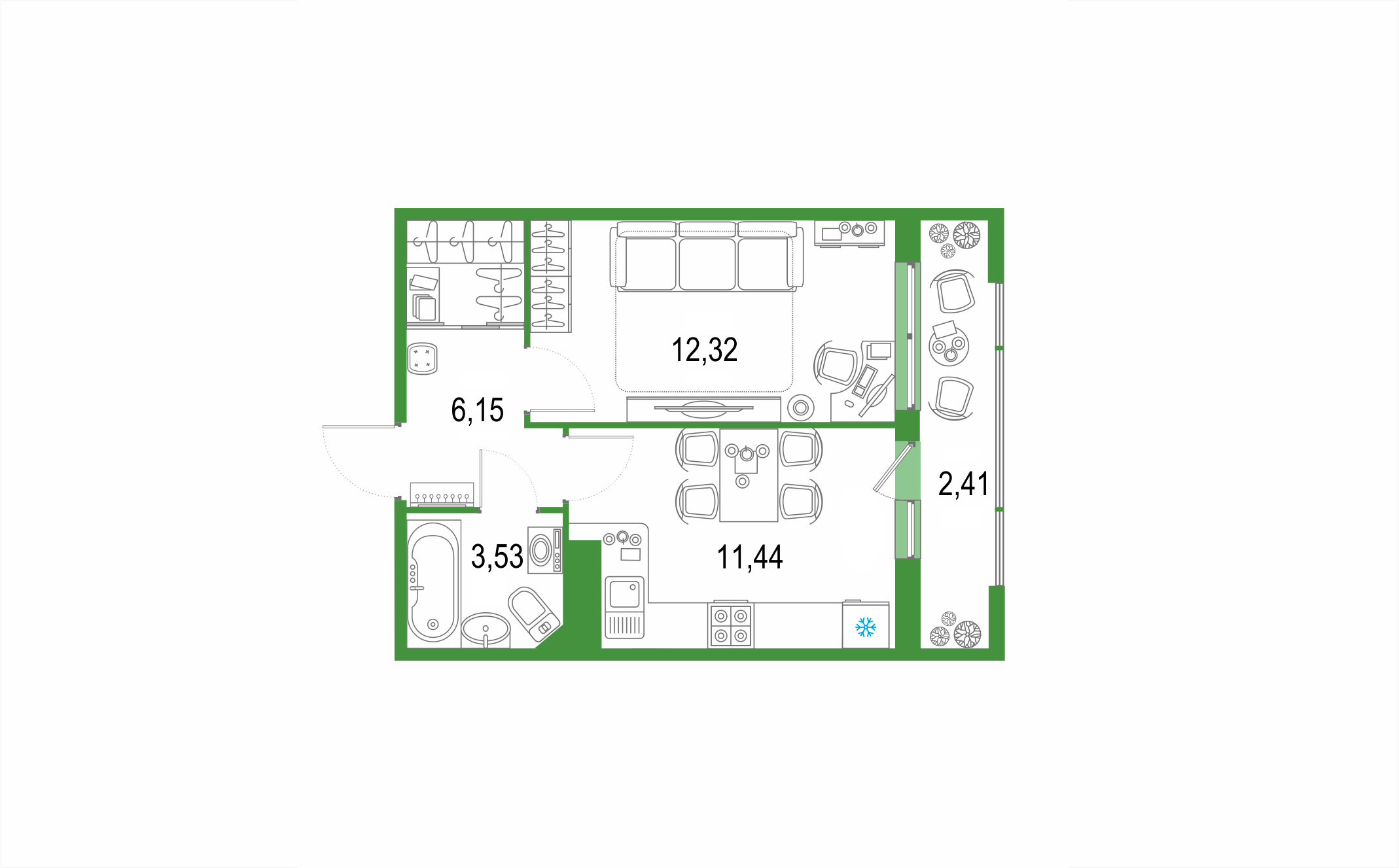Планировка Однокомнатная квартира площадью 35.85 кв.м в ЖК ««Европейский парк»»