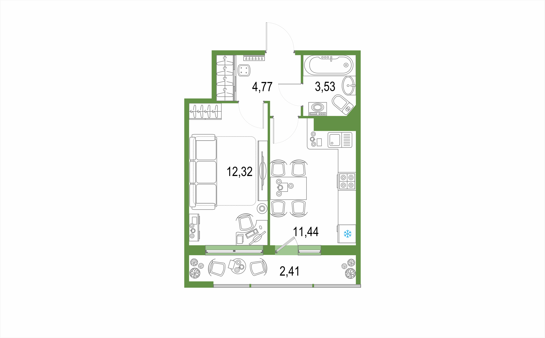 Планировка Однокомнатная квартира площадью 34.47 кв.м в ЖК ««Европейский парк»»
