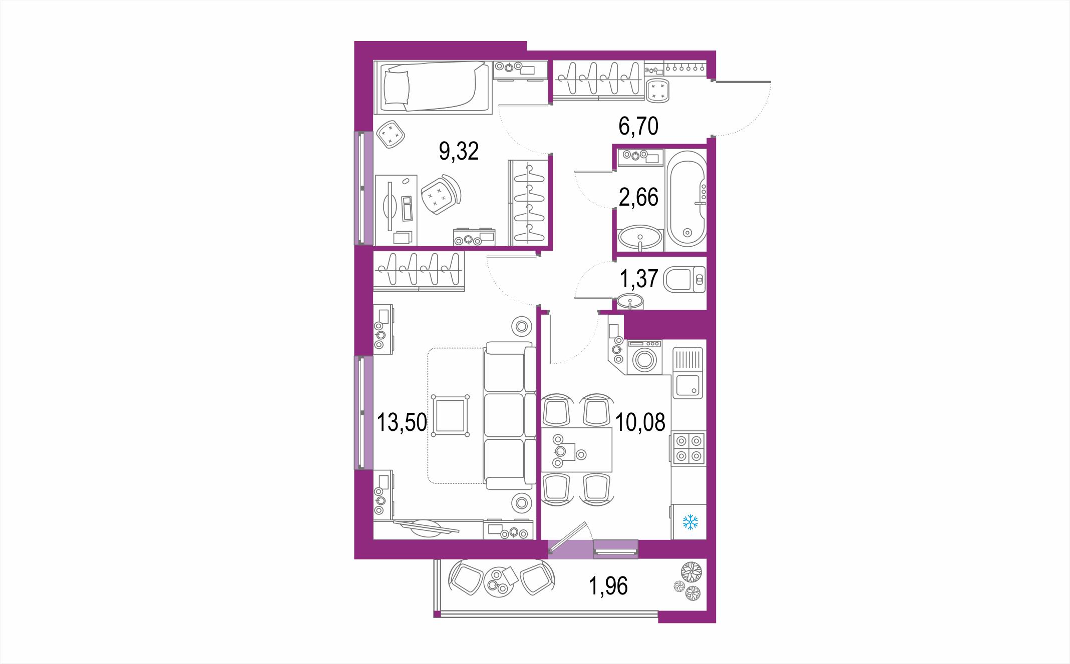 Планировка Двухкомнатная квартира площадью 45.59 кв.м в ЖК ««Европейский парк»»