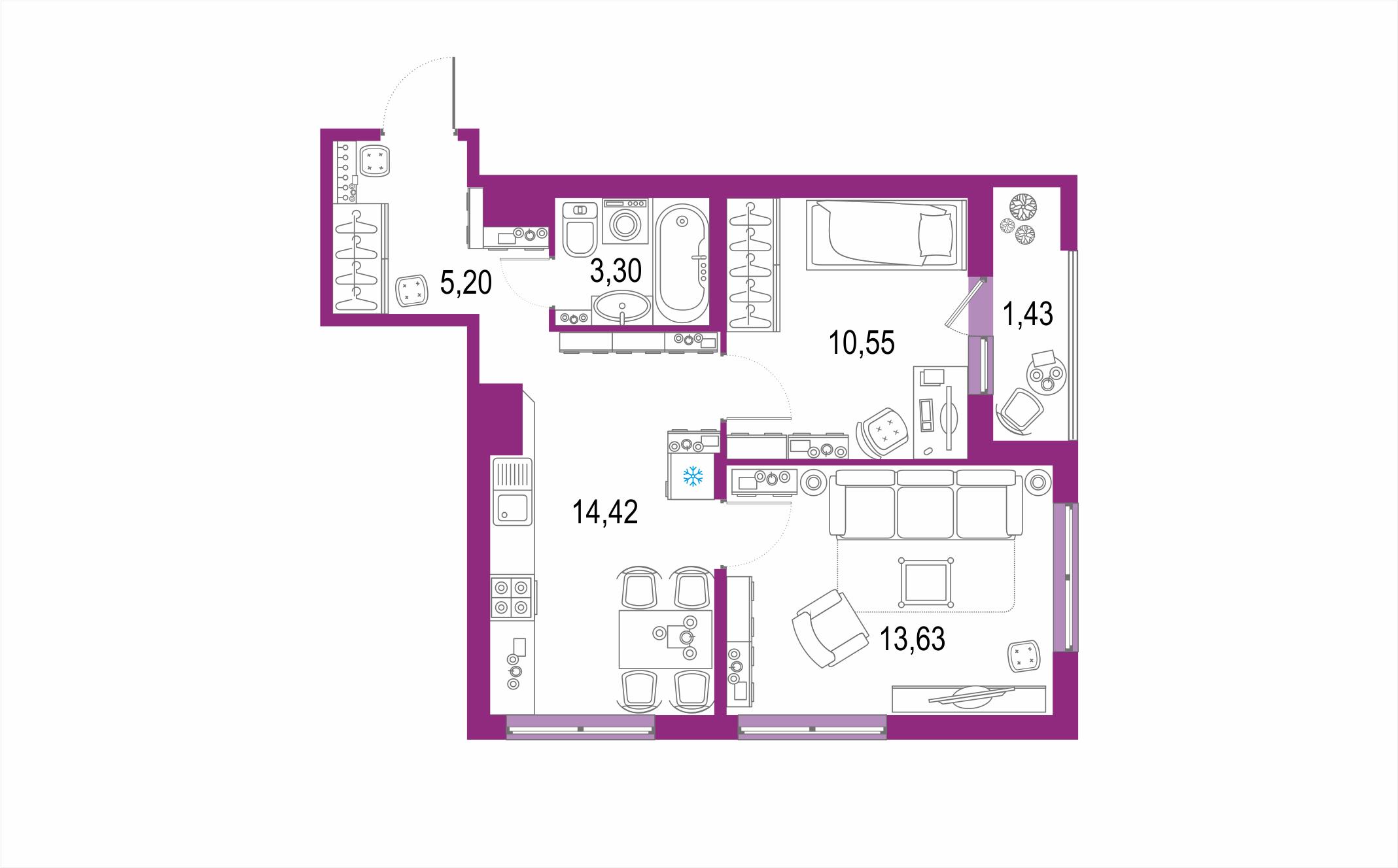 Планировка Двухкомнатная квартира площадью 48.53 кв.м в ЖК ««Европейский парк»»