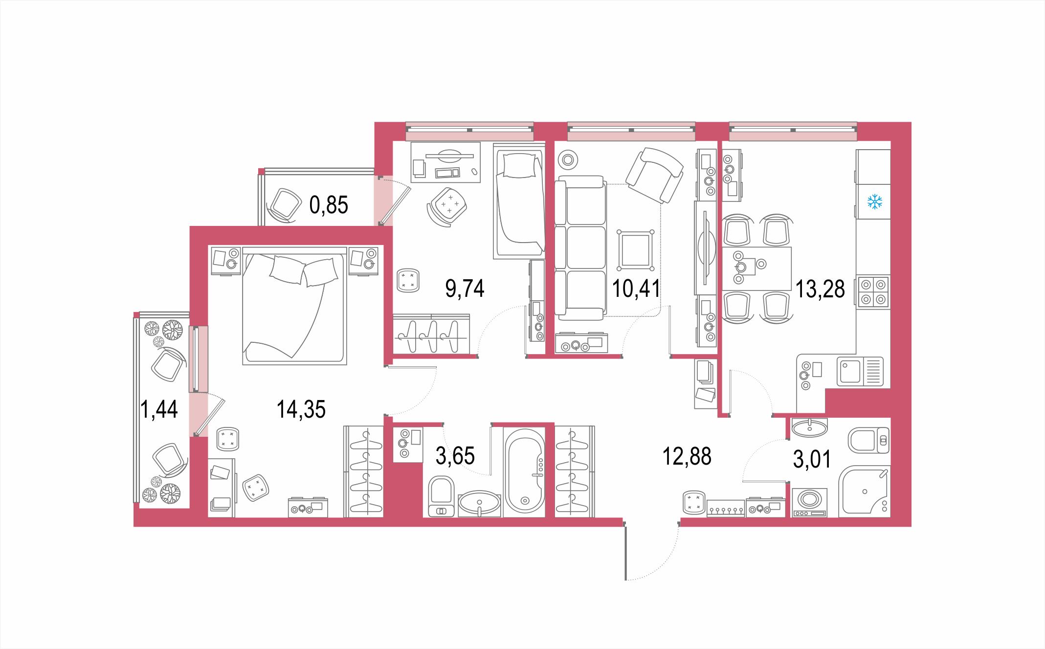 Планировка Трёхкомнатная квартира площадью 69.61 кв.м в ЖК ««Европейский парк»»