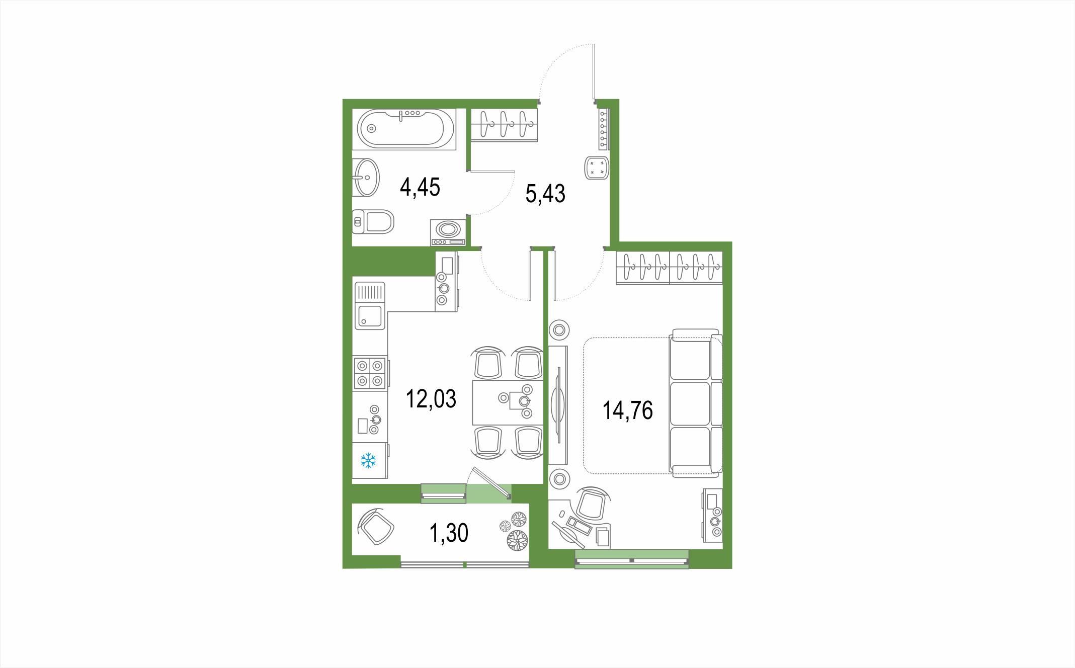 Планировка Однокомнатная квартира площадью 37.97 кв.м в ЖК ««Европейский парк»»
